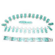 1950 Norway David Andersen Teal Enamel Wave Parure Set