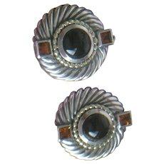 David Yurman Classic Coil 14k gold Earrings with Black Onyx & Citrine