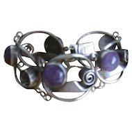 Vintage Taxco Mexico Silver Bracelet in a Mid-century Modern design with Amethyst