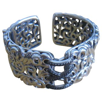 Charles Krypell 14K Gold Sterling Silver Ivy Black Sapphire Bracelet
