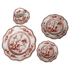 COALPORT Bone China INDIAN TREE CORAL Scalloped 5 Piece Place Setting perfect