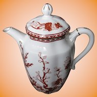 COALPORT bone china INDIAN TREE CORAL scalloped Coffee Pot