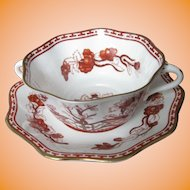 COALPORT bone china INDIAN TREE CORAL scalloped 2 handle cream soup