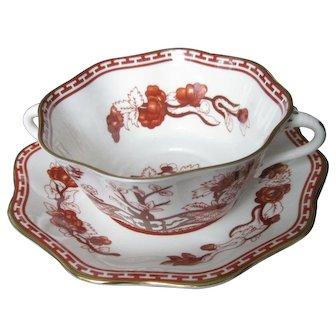COALPORT bone china INDIAN TREE CORAL scalloped 2 handle cream soup