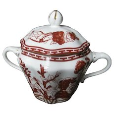 COALPORT bone china INDIAN TREE CORAL scalloped covered sugar bowl