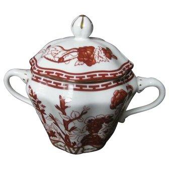 COALPORT bone china INDIAN TREE CORAL scalloped covered sugar bowl