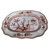 "COALPORT bone china INDIAN TREE CORAL scalloped 14"" oval platter"