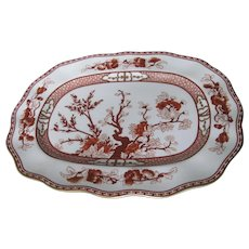 "COALPORT bone china INDIAN TREE CORAL scalloped 14"" oval platter"