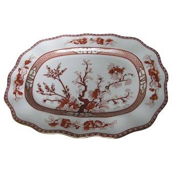 "COALPORT bone china INDIAN TREE CORAL scalloped 12"" oval platter"
