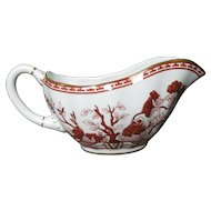 COALPORT bone china INDIAN TREE CORAL scalloped gravy boat