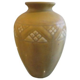1921 Rookwood Pottery Vase XXI Mustard Yellow Gold Geometric Pattern