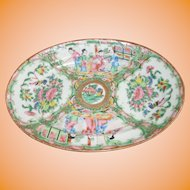 Antique Chinese Rose Medallion Oval Platter