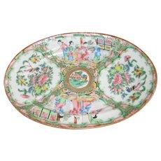 Antique Chinese Rose Medallion Oval Platter