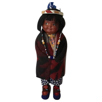 1939 Skookum Indian girl, mint condition original necklace and headdress