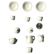 Late 19th century white ironstone miniature tea set for small doll or dollhouse