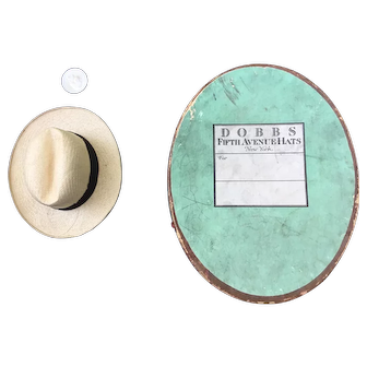 Rare Panama straw hat with miniature hat box for your gentleman doll