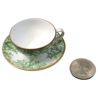 French Fashion Spode Doll cup and saucer, rare green seaweed pattern