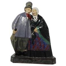 Art Deco Ceramic Sculpture Old People – Etling Becquerel