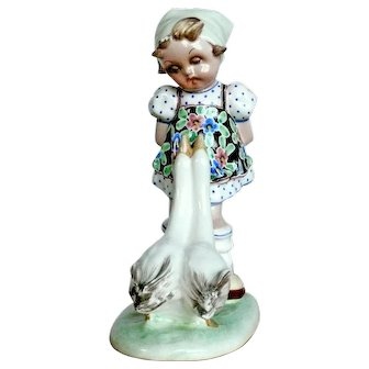 Goose Girl Figurine - Italian Ceramicist T. GALLI
