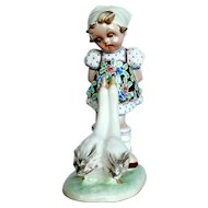 Mid-Century Ceramic Goose Girl Figurine - Italy  T. GALLI