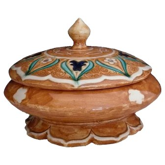 J.J. LACHENAL Art Deco Lidded Jar Orientalist Decoration