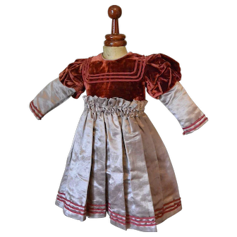 """Lovely Velvet and Silk Dress for Antique Doll"""