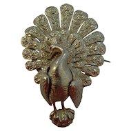 Victorian silver peacock brooch