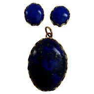 vintage Lapis Lazuli pendant and earrings set in 9ct gold