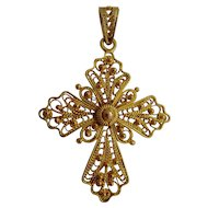 Vintage 18ct filigree cross