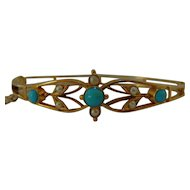 Victorian 9 ct gold Turquoise and seed pearl bangle / bracelet