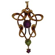 9 ct Art Nouveau Amethyst and Peridot Pendant