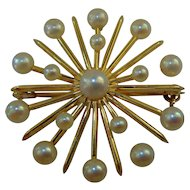Vintage 14ct gold cultured pearl Star pendant /  brooch