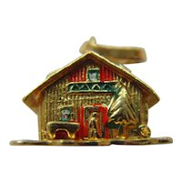 Vintage 18ct gold with enamel detail winter chalet house charm