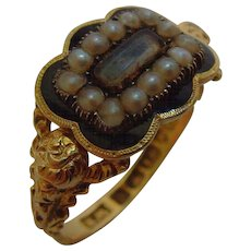 Georgian mourning 18 ct gold and enamel seed pearl ring