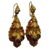 Victorian gold and almandine garnet earrings