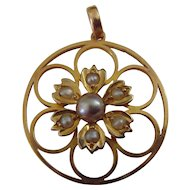Edwardian gold seed pearl pendant