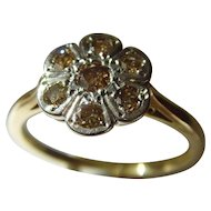 Vintage 18ct 7 stone cognac / chocolate diamond ring