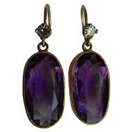 Art Deco 18 ct Amethyst and Diamond drop earrings