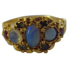 Victorian 18 ct Opal, Ruby and Emerald Ring