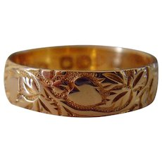 Antique English 18ct gold 1907 Heart & Foliage Ring