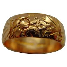 Antique 9 ct Gold 1908 Flower & Foliage Ring