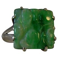 Art Deco Jade silver ring