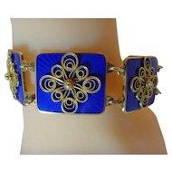 Vintage Modernist Ivor T Holth enamel and filigree silver bracelet