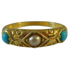 Edwardian 18 ct gold 3 stone Turquoise and natural pearl ring