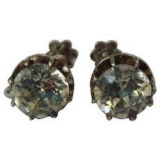 Victorian foil back paste silver-tone screw back earrings