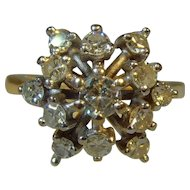 Vintage mid century 18 ct gold Diamond Starburst ring