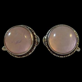 Antique silver arts and crafts Rose Quartz screw stud earrings