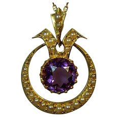 Antique Edwardian 15 ct gold Amethyst and seed pearl pendant.