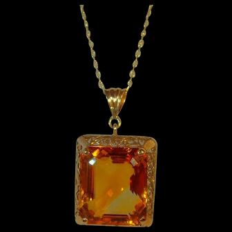 Vintage Mid' Century 14 ct gold Madeira Citrine pendant