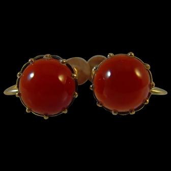 Edwardian Carnelian 9 ct gold Screw fittings stud earrings